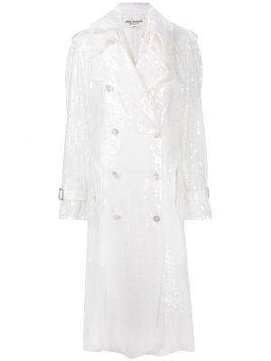 Белое длинное пальто оверсайз на пуговицах Junya Watanabe