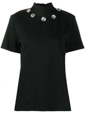 Włókienniczy z rękawami prosto czarny koszula Christopher Kane