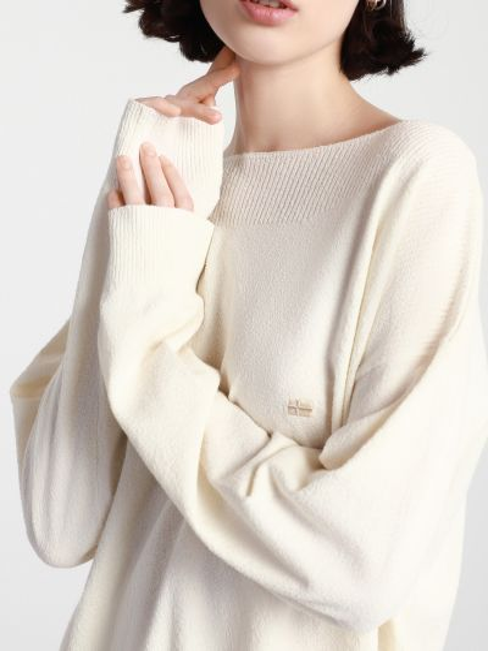 Свободный белый свитер с воротником Napapijri