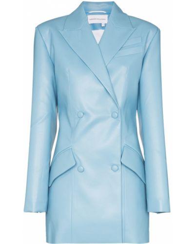 Костюмный синий удлиненный пиджак с карманами Aleksandre Akhalkatsishvili