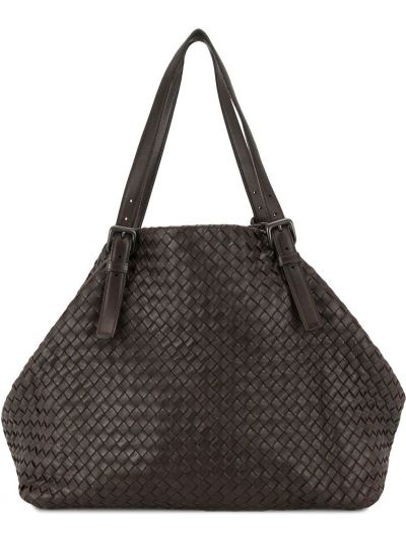 Кожаная коричневая сумка-тоут на молнии с карманами Bottega Veneta Pre-owned