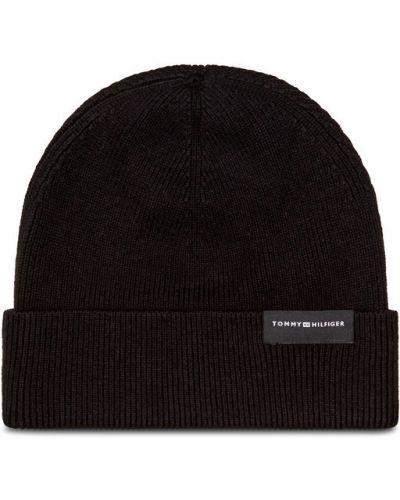 Czarna czapka wełniana Tommy Hilfiger