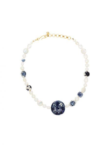 Niebieski złoty naszyjnik perły Brinker & Eliza