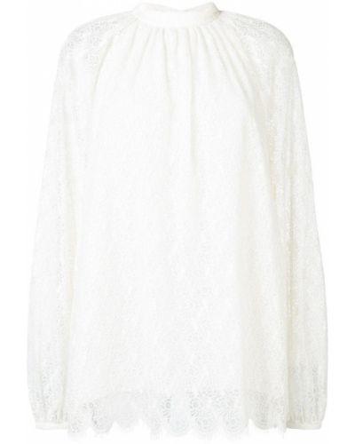 Блузка с длинным рукавом кружевная белая Giamba