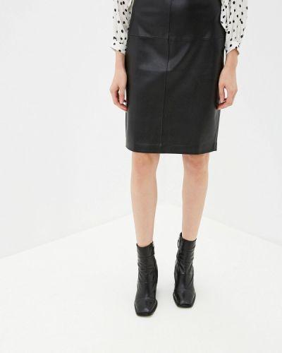 Кожаная юбка черная Mango