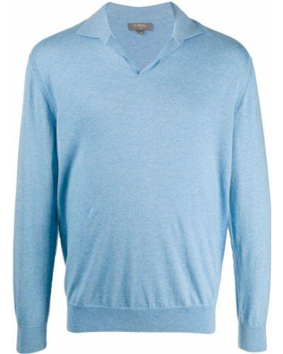Niebieski top z długimi rękawami bawełniany N.peal
