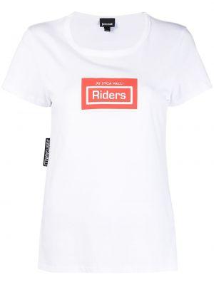 С рукавами белая футболка с надписью Just Cavalli