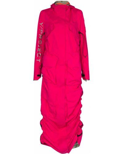 Розовая длинная куртка с капюшоном с нашивками Y Project