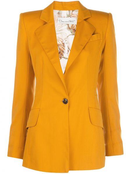 Желтый приталенный однобортный пиджак с карманами Oscar De La Renta