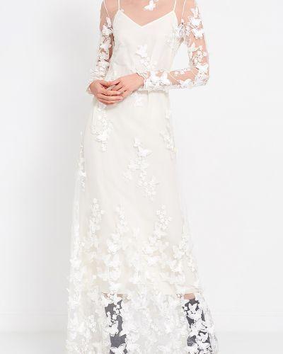 Шелковое белое платье миди с бабочками A La Russe
