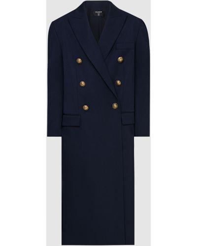 Синее шерстяное пальто Balmain