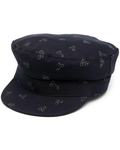 Czerwona czapka bawełniana z printem Bonpoint