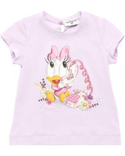 Fioletowy t-shirt bawełniany z printem Monnalisa