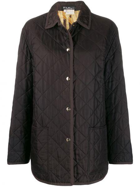 Прямое стеганое пальто с воротником винтажное с капюшоном Salvatore Ferragamo Pre-owned