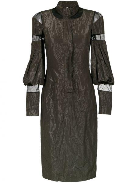 Зеленое платье миди с длинными рукавами из фатина Gloria Coelho