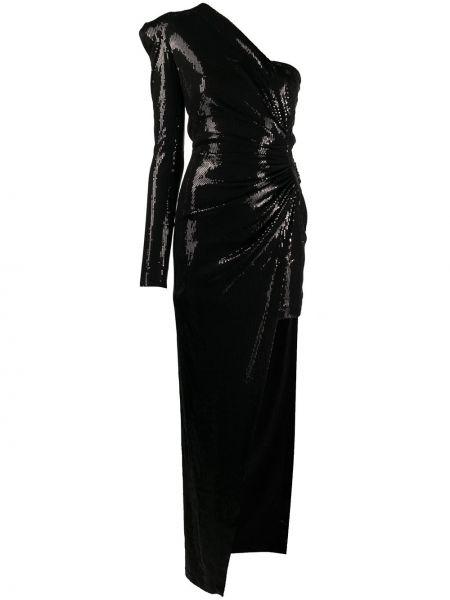 Вечернее с рукавами черное вечернее платье с пайетками David Koma