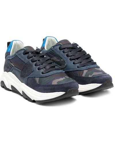 Кожаные синие кроссовки с нашивками на шнуровке Philippe Model Kids
