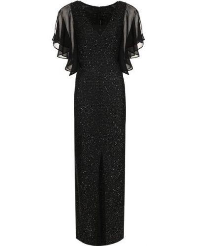 Мягкое приталенное платье макси с пайетками букле St. John