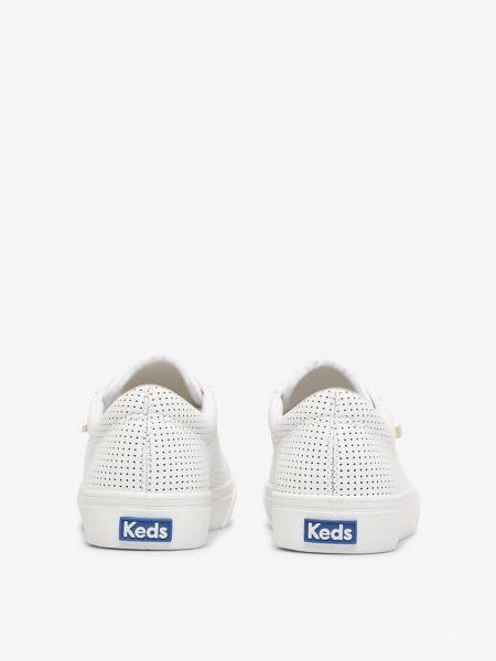 Кожаные белые низкие кеды с перфорацией Keds