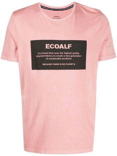 Прямая хлопковая розовая футболка с круглым вырезом Ecoalf