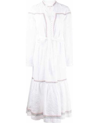 Белое платье с вышивкой Saloni