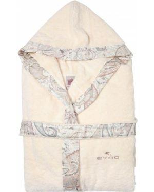 Beżowy szlafrok z kapturem z haftem Etro