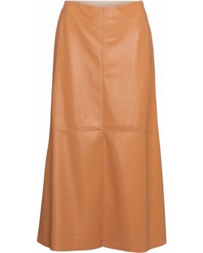 Beżowa spódnica midi skórzana Nanushka