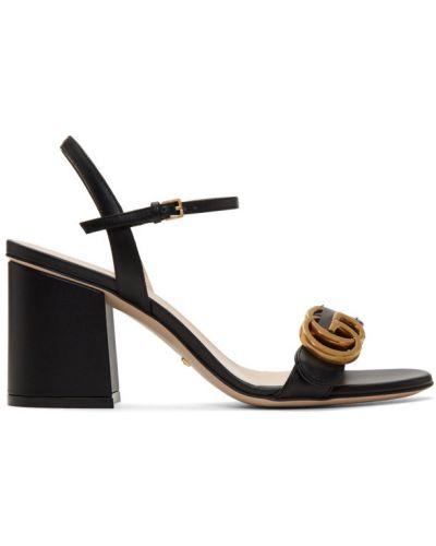 Skórzany czarny otwarty sandały na pięcie Gucci