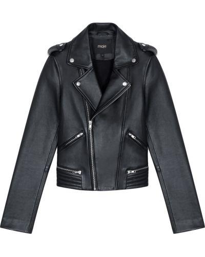 Кожаная куртка черная байкерская Maje