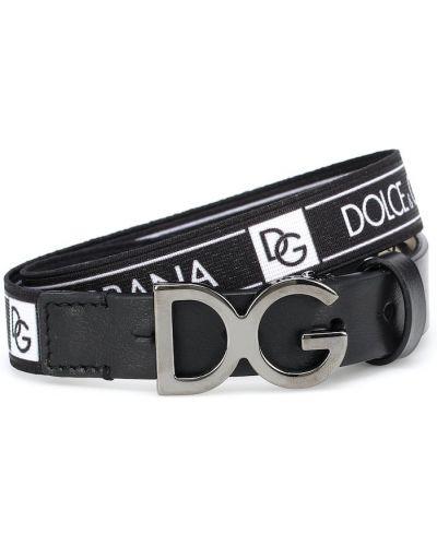 Skórzany czarny pasek z paskiem Dolce & Gabbana Kids