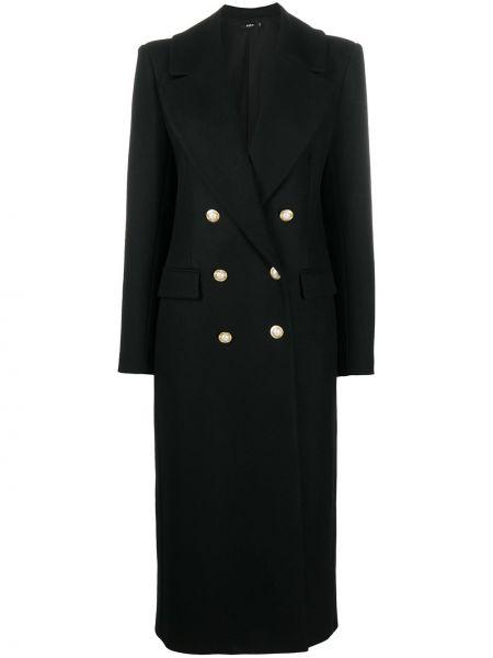 Шерстяное черное длинное пальто двубортное Amen
