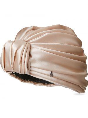 Beżowy jedwab turban z falbankami Maison Michel