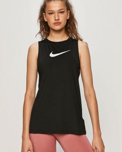 Czarny top sportowy materiałowy z printem Nike
