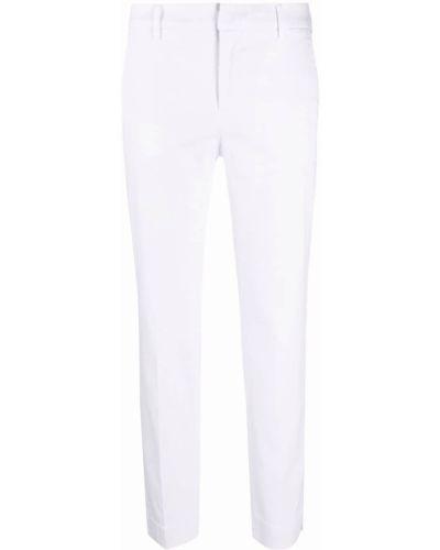 Хлопковые белые укороченные брюки с поясом Pt01