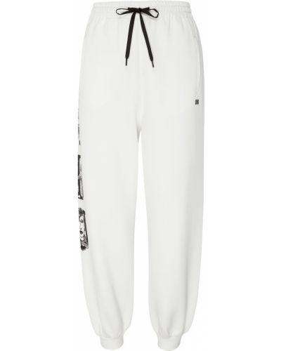 Белые свободные брюки с карманами свободного кроя с завязками Miu Miu