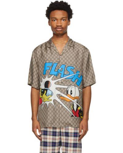 Brązowa koszula krótki rękaw z jedwabiu Gucci