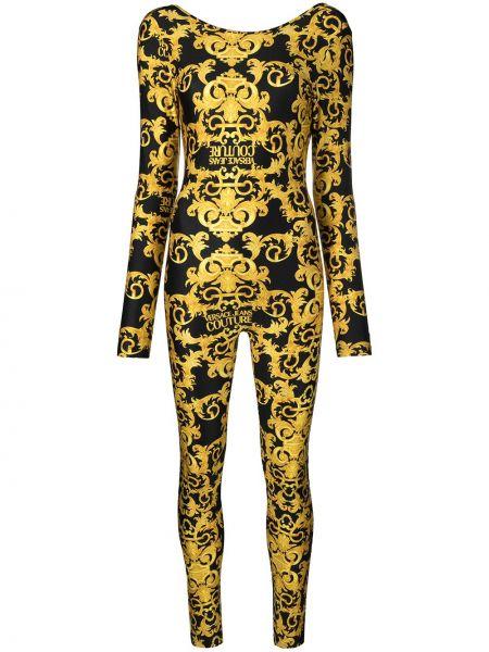 Otwarty czarny dżinsowa kombinezon z długimi rękawami Versace Jeans Couture