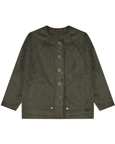 Зеленый однобортный удлиненный пиджак с накладными карманами Adolfo Dominguez