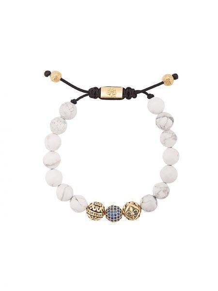 Белый браслет с бисером позолоченный Nialaya Jewelry