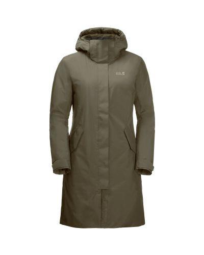 Зеленая теплая пуховая длинная куртка Jack Wolfskin
