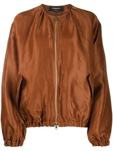 Коричневая куртка на молнии с карманами Rochas