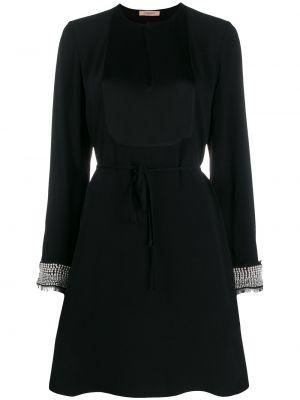 С рукавами черное платье макси с поясом Twin-set