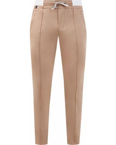 Хлопковые бежевые брюки с поясом Capobianco