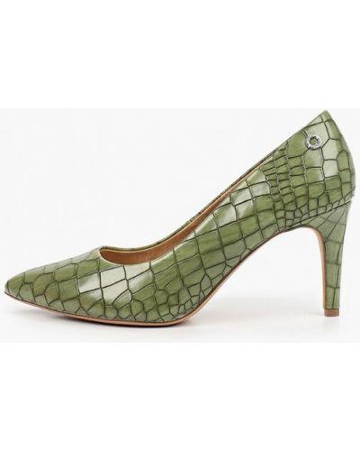 Зеленые кожаные туфли-лодочки S.oliver