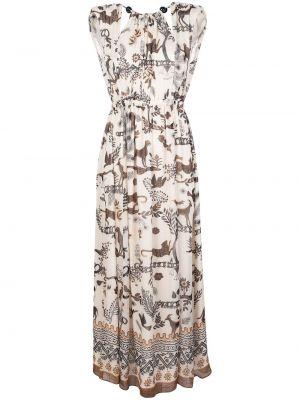 Платье макси с поясом с рукавами Saloni