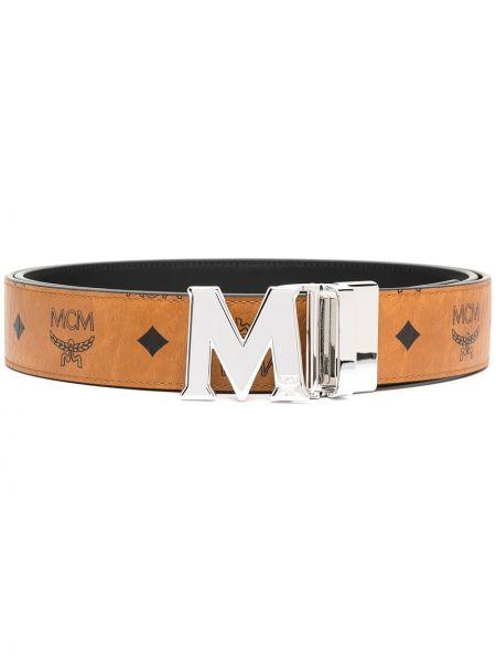 Кожаный ремень - коричневый Mcm