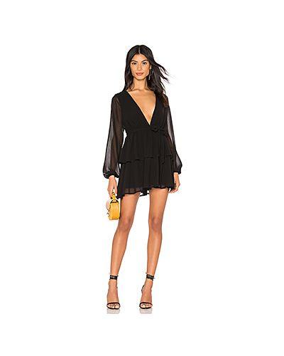 Платье с поясом с прозрачными рукавами с оборками Majorelle