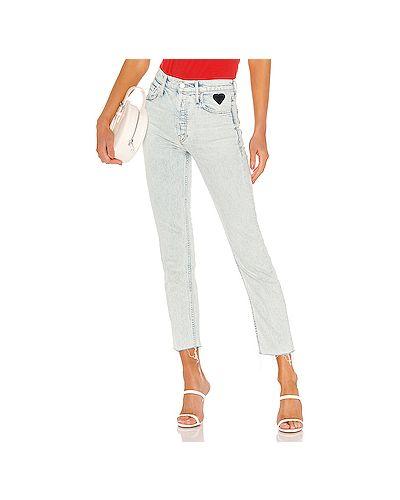 Прямые джинсы с вышивкой с заплатками Mother