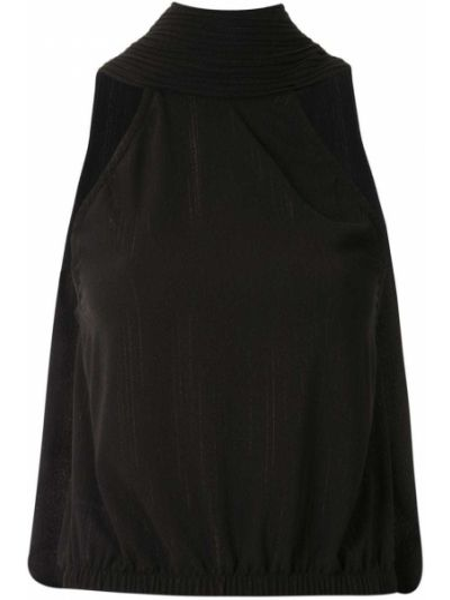 Черная блузка без рукавов с V-образным вырезом À La Garçonne