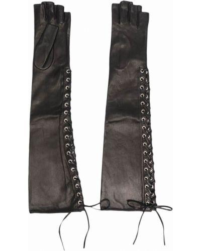 Rękawiczki bez palców koronkowe - czarne Manokhi